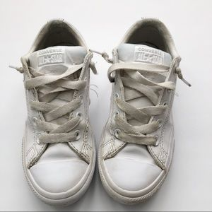 Preloved White Leather Converse Sneakers